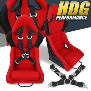 4 Pt 2 Camlock Quick Release Safety Seat Belts Pair Red Racing Bucket Seats