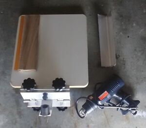 1 Color Screen Printing Press W Heat Gun Squeegee And Scoop Coater Used