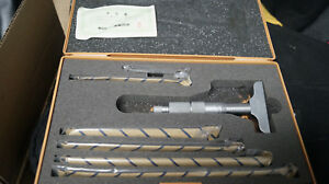 Mitutoyo 0 6 Inch Depth Micrometer Set No 129 128 And Case W id