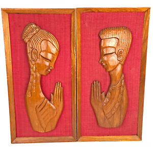 Vintage Mid Century Carved Teak Wall Art Pair Man Woman Praying Witco 20 L