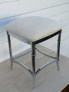Vintage Hollywood Regency Chrome Vanity Stool Bench 9156a