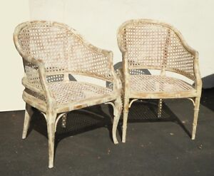 Pair Vintage French Country White Cane Accent Bergere Chairs W Crackle Finish
