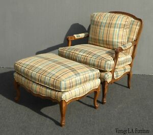 Vintage Ethan Allen Style Gold Plaid Chair Ottoman Down Feather French Country