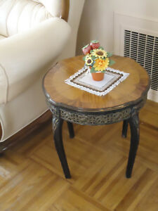 Antique Vintage Round Carved Wood Brass Inlay End Table Coffee Table