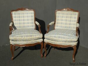 Vintage Blue Plaid Accent Bergere Chairs W Down Cushions By Henredon Fine Furn