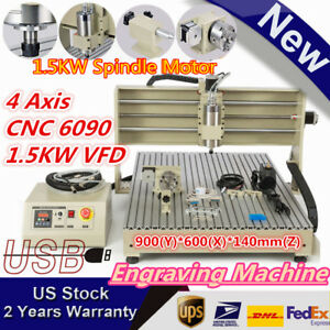 Usb 4 axis 1500w Vfd Cnc6090 Rrouter Engraver Engraving Milling Carving Machine