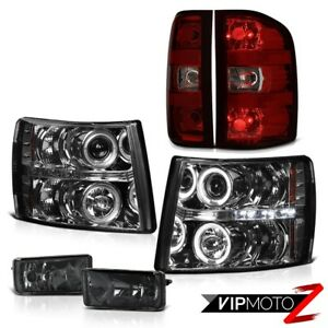 07 13 Silverado Fog Lights Rosso Burgundy Rear Brake Lamps Headlamps Halo Ring