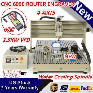 Usb 4 Axis Cnc6090 Router Engraver 1 5kw 3d Carving Milling Machine W Handwheel