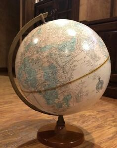Vintage Cram S Imperial 12 World Globe Oak Wood Base Ussr Am Pm