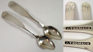 2 Early American Coin Silver J Thomson 6 Spoon Set W Hand Etched Monogram