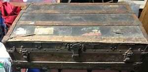 Empire Circa 1880 Crouch Fitzgerald Antique Traveling Trunk Chest New York