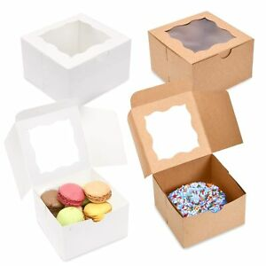 pack Of 50 Brown Bakery Boxes With Window 4x4x2 5 Cute Cardboard Gift Pack