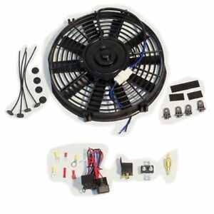 Electric 9 Straight Blade Cooling Radiator Fan 12v 800cfm relay Thermostat Kit