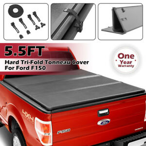 For 2014 2018 Ford F150 Hard Solid Tri fold Tonneau Cover 5 5ft Truck Bed Cover
