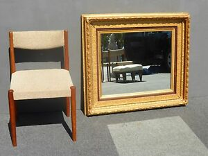 Beautiful Vintage 1962 French Large 39 H Gold Wall Mantle Mirror Carved Wood