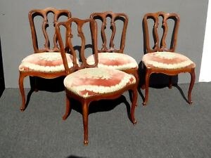 Set Of Four Vintage French Country Style Floral Pink Velvet Side Dining Chairs