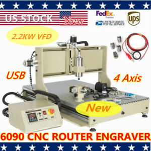 2 2kw Usb 4axis 6090 Cnc Router 3d Engraver Cutter Milling Cutting Machine Vfd