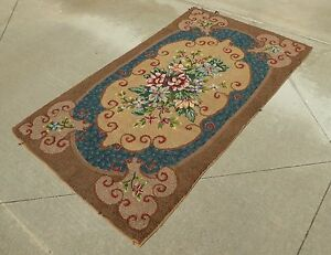 Vintage Rectangle Brown Floral Hand Knotted Area Rug