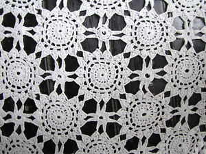 Antique French Crocheted Bed Cover Hand Made White Lace C1910