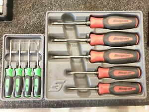 Snapon 9pc Torx Screwdriver Sets Green Red Trays T8 T30 Sgdtx50 Sgtx40