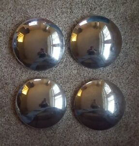 Four 4 Vintage Set Baby Moon Hubcaps Center Cap Wheel Cover Chevy Ford Other