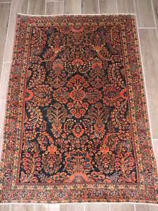 3x5ft Antique Persian Sarouk Mohajeran Wool Rug