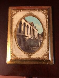 Vintage Square Gold Florentine Hand Painted Wood Picture Italy