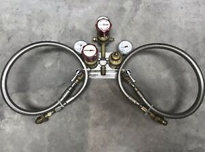 Prostar Platinum Praxair Gas Regulator Assembly Guages With Wall Mount Hoses