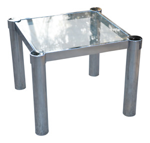 Mid Century Modern Chrome Glass Milo Baughman Style Side Table