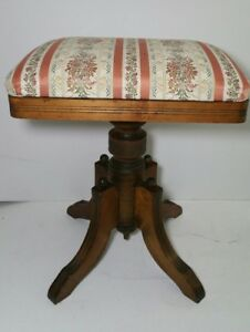 Antique Victorian Piano Bench Stool Wooden Pedestal Base Wood