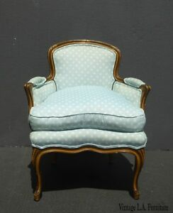 Vintage French Provincial Baby Blue Accent Chair W Down Cushion Low Profile