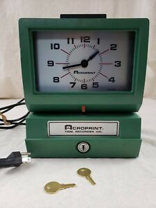 Vintage Acroprint Time Recorder Auto Punch Clock 125qr4 With 2 Keys