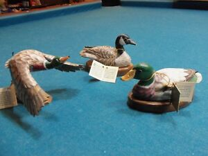 Hand Carved Wood Painted Ducks John Madison Statues Lot Of 3