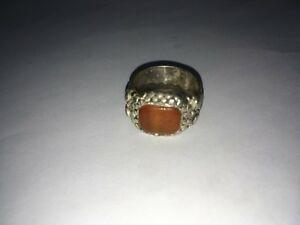 Antique Old Islamic Silver Ring With Inscription Text Stone Ottoman 8 7 Grams