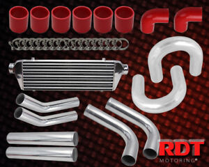2 5 Chrome red Turbo Charger Intercooler Piping Kit clamp couplers Universal