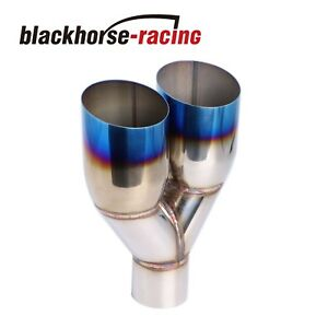 1pc Polished Stainless Steel 2 5 X 3 5 Exhaust Single Layer Slant Tip Blue Burnt
