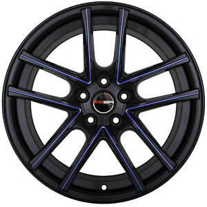 4 Gwg Zero 18 Inch Black Blue Mill Rims Fits Ford Shelby Gt 500 2007 2009