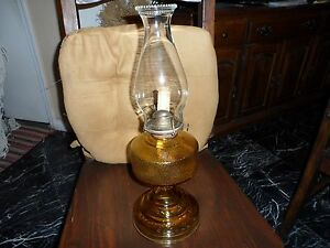 Vintage Yellow Amber Pressed Glass Oil Kerosene Lamp Base With Burner Usa