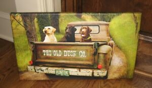 Dog Truck Canvas Picture Farmhouse Primitive French Country Hunting Decor