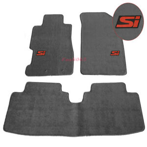 Fits 01 05 Civic Floor Mats Front Rear Nylon Grey 3pc W Red Si Embrodery