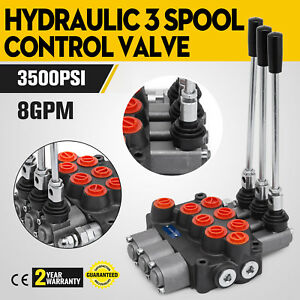 3 Spool Hydraulic Control Valve Mb31bbb5c1 8 Gpm 3500 Psi Adjustable Motors