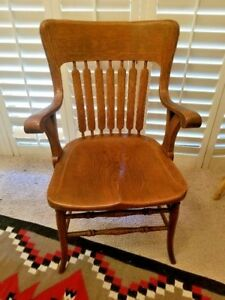 Wooden Arm Chair Banker S Country Club Chair Vintage Oak Library Chair