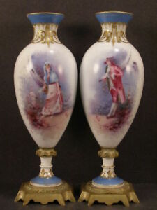 1800 S French Sevres Porcelain Signed Bronze Painted Gold Gilt Portrait Urn Vase