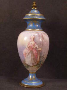 1800s Bronze French Limoges Porcelain Hand Painted Portrait Sevres Gilt Urn Vase