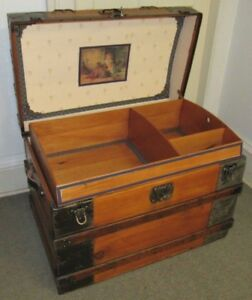 Antique Steamer Trunk Vintage Victorian Flat Top Mid Size Wooden Chest Tray