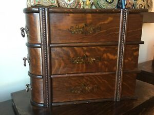 Antique Sewing Machine Treadle Drawers Frame Hand Painted Copper Pulls