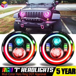 For Hummer H1 H2 B 7 Rgb Halo Led Headlight Assembly Update Use App Control