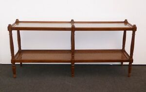 Vintage French County Provincial Two Tier Cane Side Sofa Table Console Table