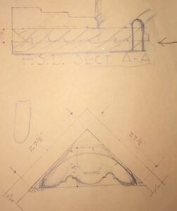 1960 Blue Prints Plans Mid Century Fireplace Mantle Vintage Architecture 27x35