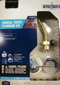 Bernzomatic Pk1001kc Solid Brass Torch Plumbers Kit 5 Pc New Sealed